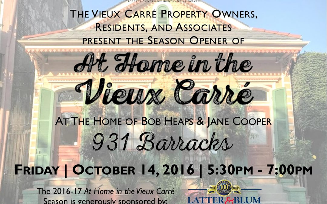 At Home in the Vieux Carre 2016-17 Season begins Friday, October 14th!