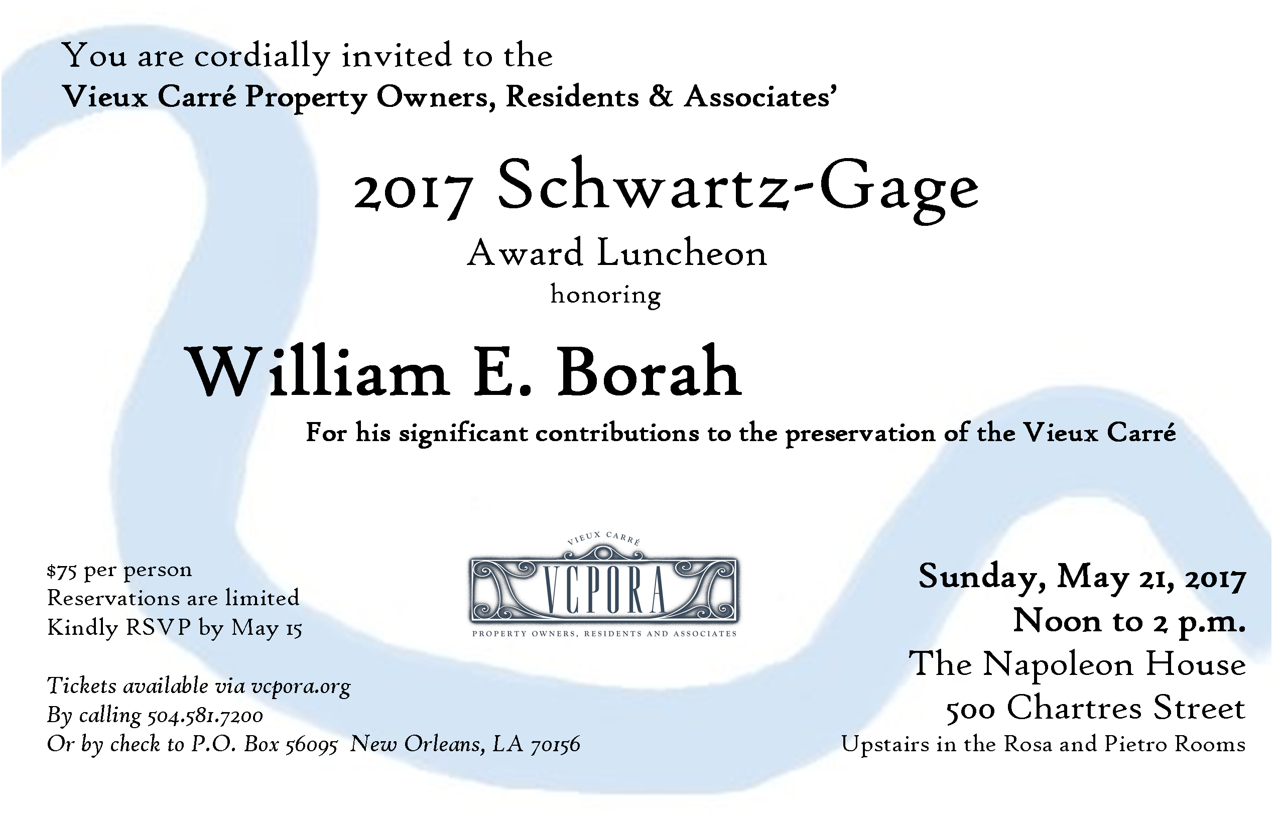 2017 Schwartz Gage Award Invite
