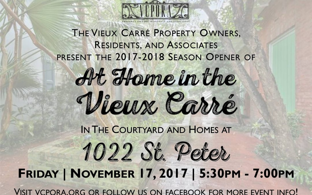 At Home in the Vieux Carre 2017-18 Season begins THIS Friday, November 17th!
